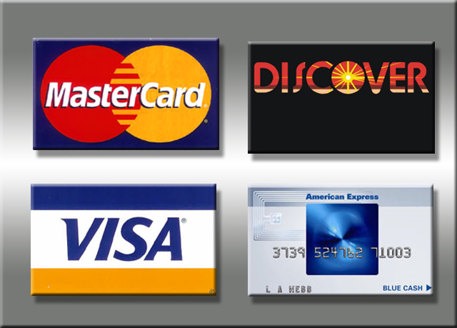 We Accept MasterCard Discover Visa and American Express in 94013